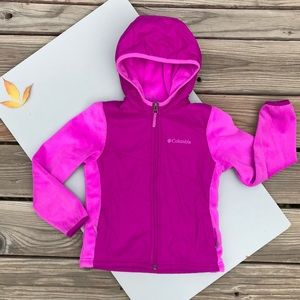 Columbia Girls Pink Fuchsia ZIP Up Hybrid Fleece